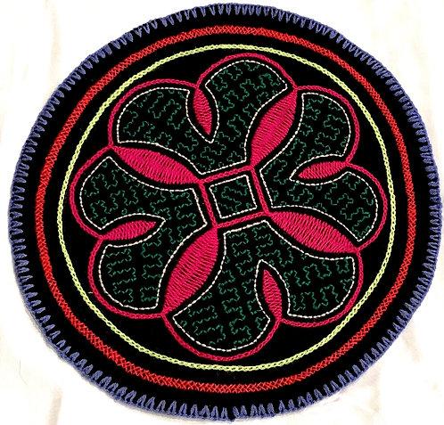 "AC13.9 Hand Embroidered Meditation Circle 7.75"""