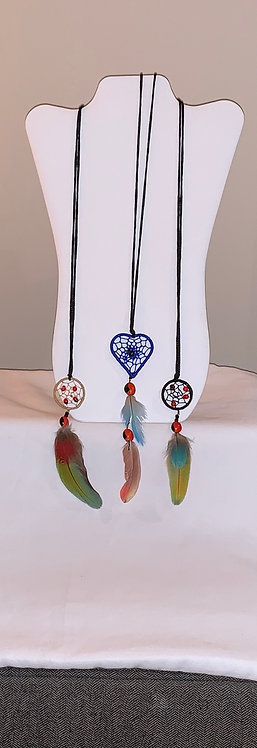 JN65 Feather and Dream Catcher Necklace
