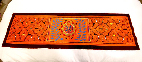 "AR1.3 Table runner hand-embroidered 54"" x 14.25"""