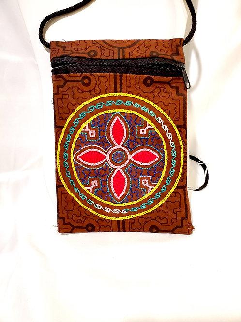 """GB54.3 - Hand-Painted & Embroidered Shipibo Textile Bag, 4.5"""" x 7.5"""""""