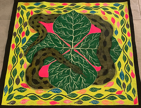 AP4 Painting-  Hand painted serpent and ayahuasca plant