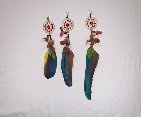 JE14 Feather and Dream Catcher Earring