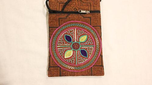 """GB52.6 Hand-Painted & Embroidered Shipibo Textile Bag, 4.5"""" x 7.5"""""""