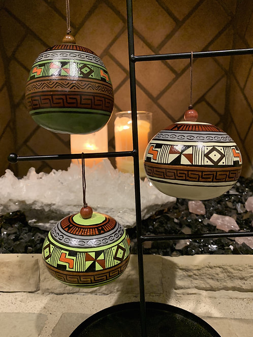 GO18 Gourd Ornaments Hand-Painted Multicolored; Tribal Painted Gourd Ornamen