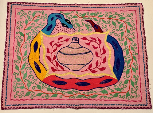 "AA77.1  Hand-Embroidered Ayahuasca Serpent Altar Cloth 18"" x 14"""
