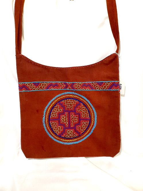 Embroidered Multi Color Brown Bag