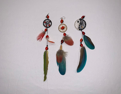 JE13 Feather and Dream Catcher Earring