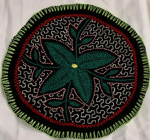 "AC5.44 Hand Embroidered Meditation Circle 7.5"" $18"