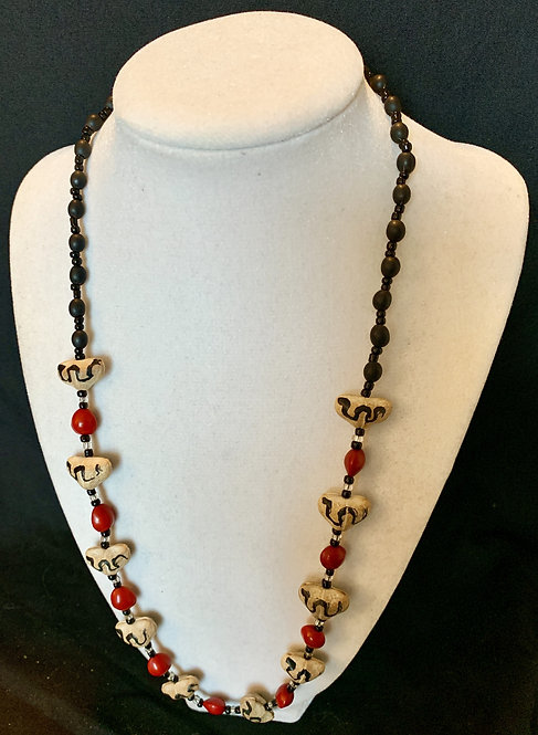 JN89 Painted Seed Beaded Necklace