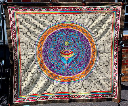 AT2 Embroidered and Painted Serpent Tapestry