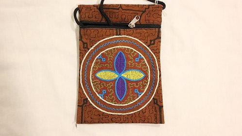 """GB52.1 Hand-Painted & Embroidered Shipibo Textile Bag, 4.5"""" x 7.5"""""""