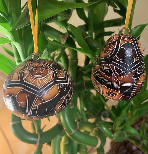 GO21 Mini Gourd Ornaments Carved & Hand Dyed Multicolored