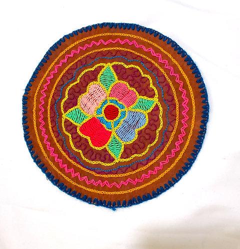 "AC4.16 Hand Embroidered Meditation Circle 6.25"""