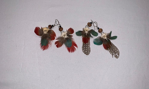 JE15 Bone and Feather Earrings