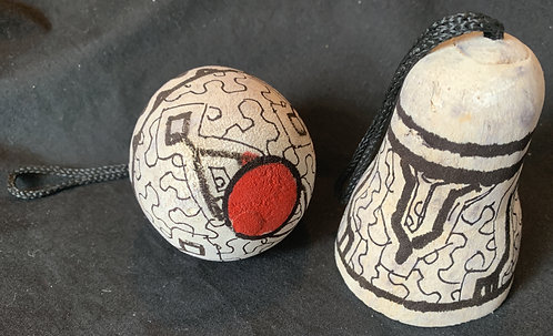 GO14 Hand-Carved & Painted Bell Ornament
