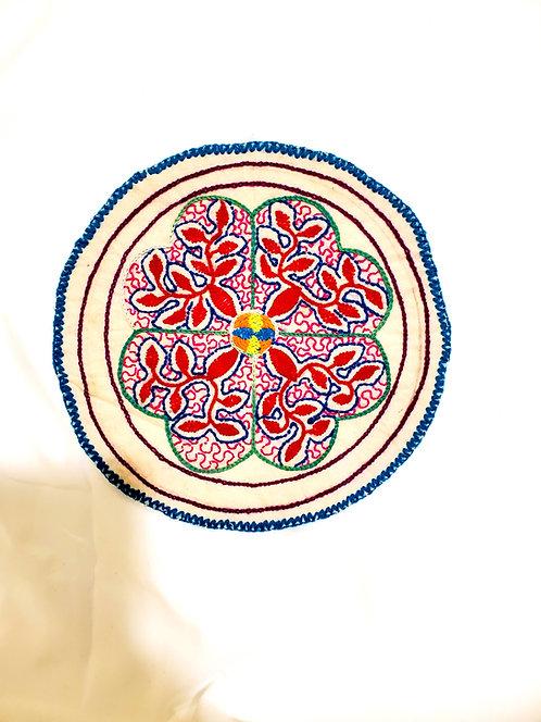 "AC13.19 Hand Embroidered Meditation Circle 7.5"""