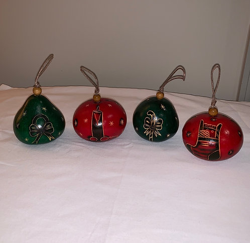 GO2 Gourd Ornaments Carved Hand Dyed Multicolored