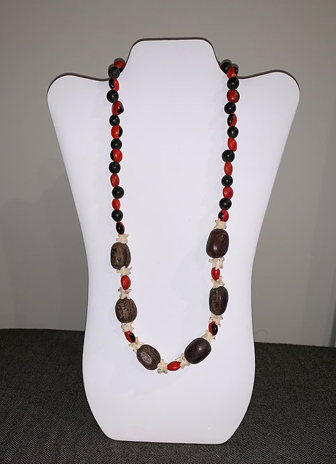 JN38 Bone, Huayruro, Shell, and Seed Necklace