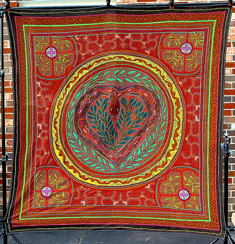 "AT16 Embroidered and Painted Matrimonial Tapestry 58.5"" x 55"""