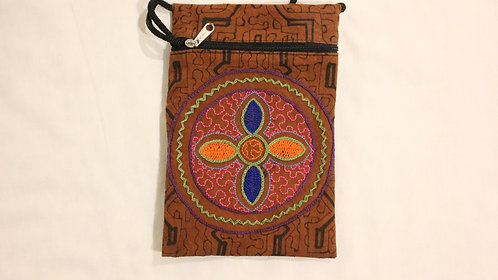 "GB52.4 Hand-Painted & Embroidered Shipibo Textile Bag, 4.5"" x 7.5"""