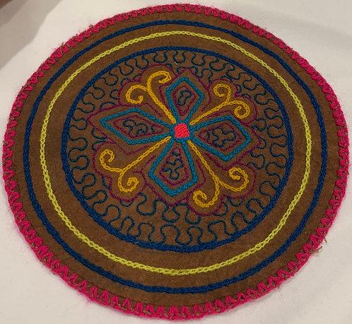 "AC4.5 Hand Embroidered Meditation Circle 6.25"" $16"