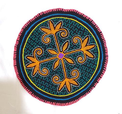 "AC14.17 Hand Embroidered Meditation Circle 9.25"""