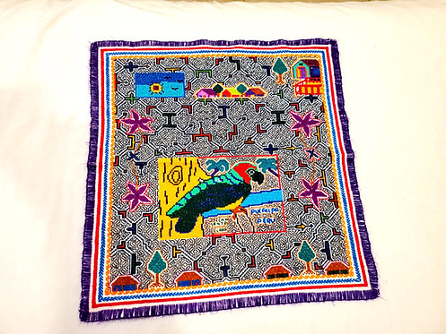"AA78.2 Hand-Embroidered Jungle Community Themed Altar Cloth 18""x18.5"""