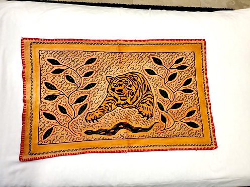 """AA77.6 Hand-Embroidered Tiger & Serpent Themed Shamanic Altar Cloth  29"""" x 17.5"""""""