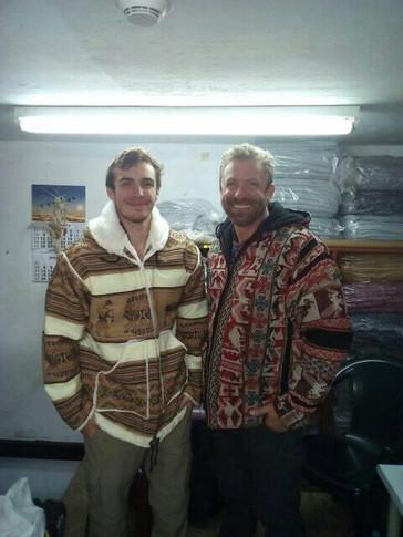 We're coat models in Peru!