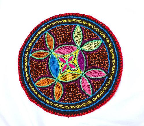 "AC13.15 Hand Embroidered Meditation Circle 7.75"""
