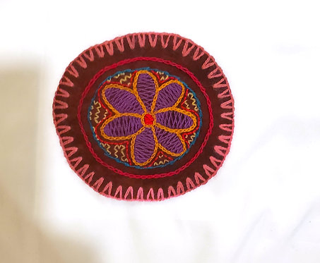 AC1.4 Hand Embroidered Meditation Circle 4.5""