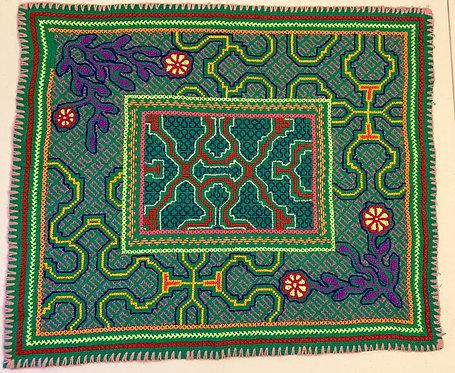 "AA74.2 Hand Embroidered Botanical Altar Cloth 18""x21"""