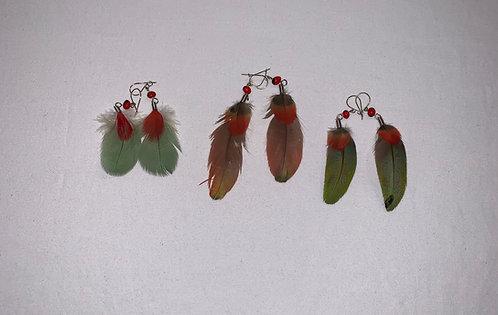 JE3 Huayruro Feather Earrings