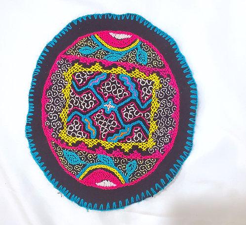 "AC12.3 Hand Embroidered Meditation Circle 8.5 X 7.5"""