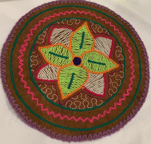 "AC4.18 Hand Embroidered Meditation Circle 6.25"" $16"