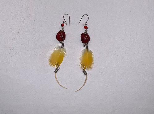 JE4 Feather and Bone Earrings