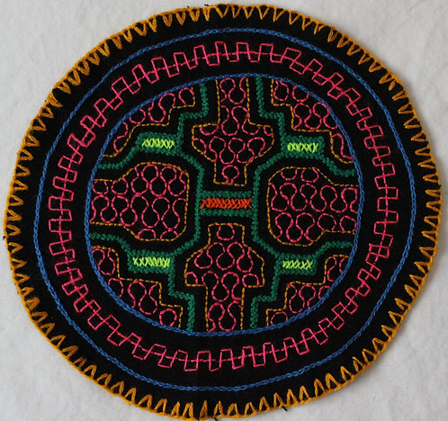 "AC3.4 Hand Embroidered Meditation Circle 6.5"" $15"