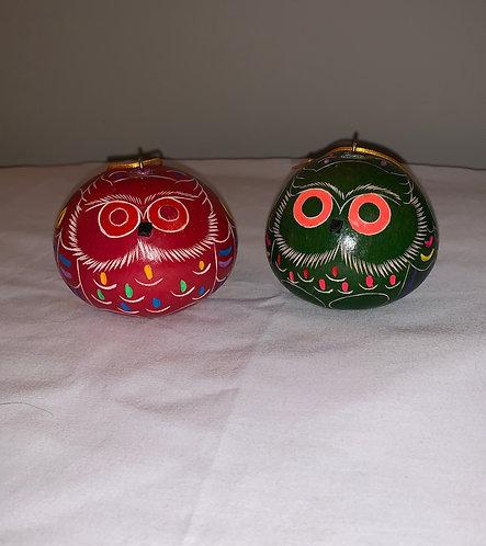 GO13 Owl Colorful Gourd Ornament