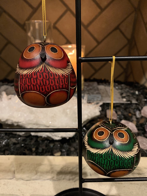 GO16 Gourd Ornaments Carved Hand Dyed Multicolored; Owl Gourd Ornament