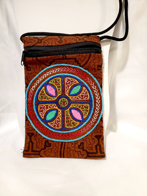 """GB54.1 - Hand-Painted & Embroidered Shipibo Textile Bag, 4.5"""" x 7.5"""""""