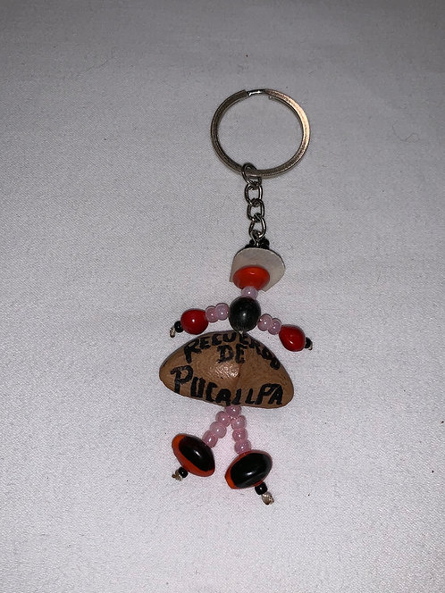 GK21 Seed and Bead Person Key Chain