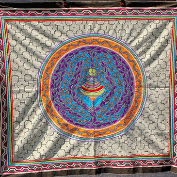 """Hand-Painted and Embroidered Shipibo Tapestry, 49"""" x 58"""", $550.00"""