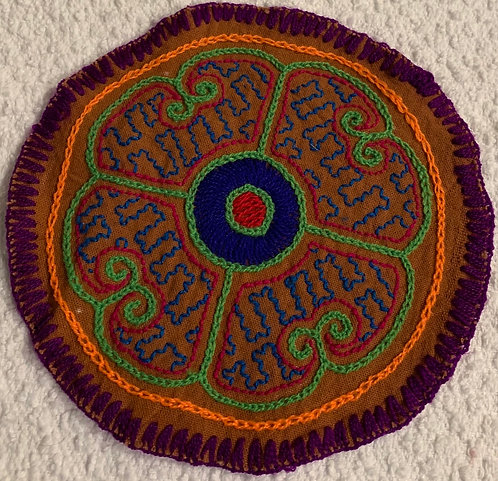 "AC3.15 Hand Embroidered Meditation Circle 5.75"" $15"
