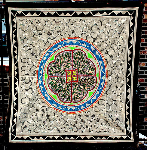 """AT13 Embroidered and Painted Flower and Leaves Tapestry59"""" x 55.5"""""""