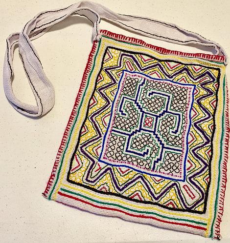 """GB44 Hand-Embroidered Shipibo Textile Bag 10.5""""x 12.5"""""""