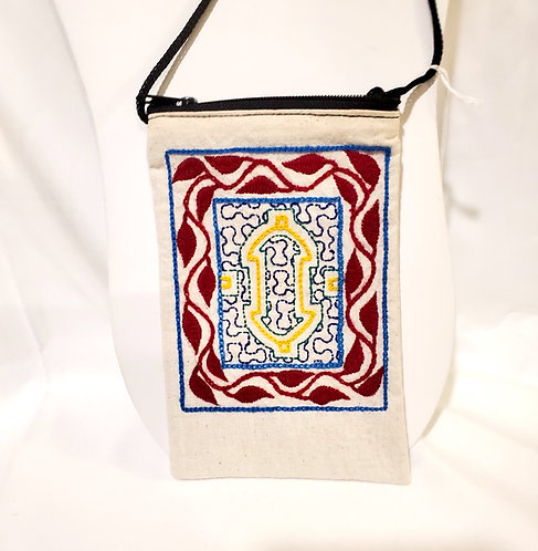 GB16.1 Hand-Embroidered Shipibo Textile Zip Close and Lined Bag