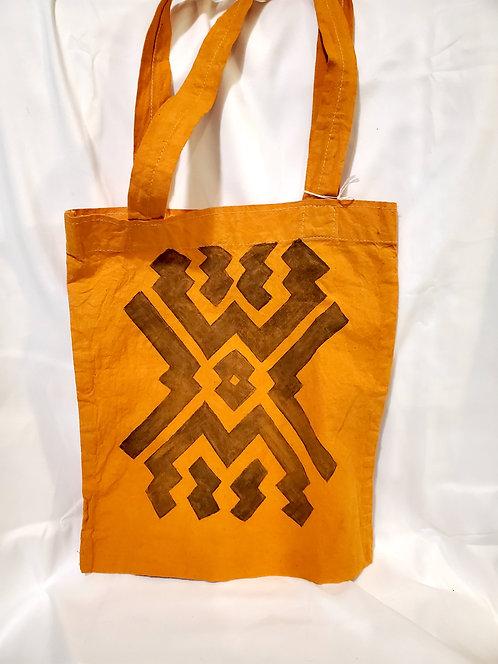 "GB49 Hand-Painted Shipibo Textile Tote Bag 11""x 12"""