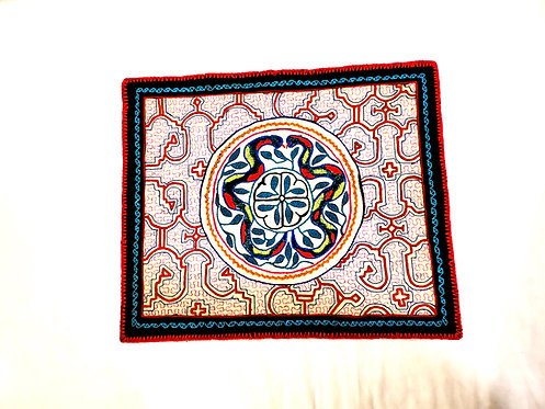 "AA77.4 Hand-Embroidered Matrimonial Ayahuasca Themed  Altar Cloth 17"" x 14"""