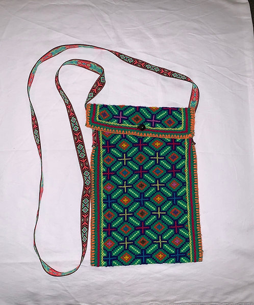 "GB23 Hand-Embroidered and Button Close Shipibo Textile Bag 10.5"" x 7.5"""