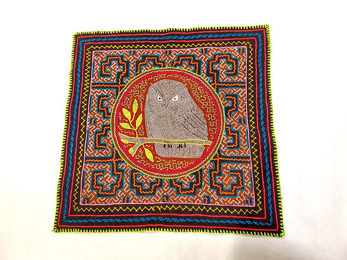 """AA77.3 Hand-Embroidered Owl Totem Altar Cloth 17"""" x 16.5"""""""
